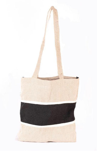 Herringbone Hemp Tote Bag W/ Pocket - leaftoember.com