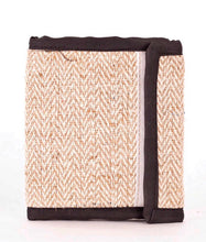 Load image into Gallery viewer, Hemp Ten Compartment Natural Herringbone Bi-fold Wallet - leaftoember.com