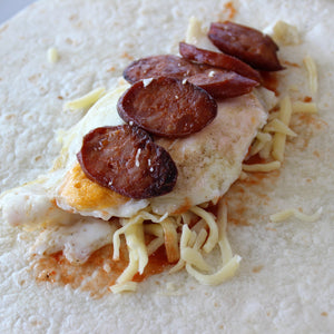 Breakfast - Chorizo, Egg, Cheese, BBQ Tomato Relish, Breaky Wrap (Tray of 6)