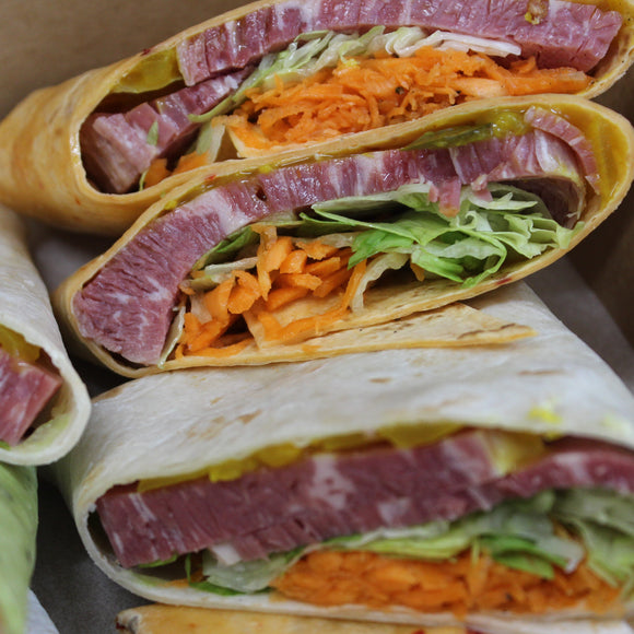 Wraps - Corned Beef, Carrot, Lettuce, Pickles