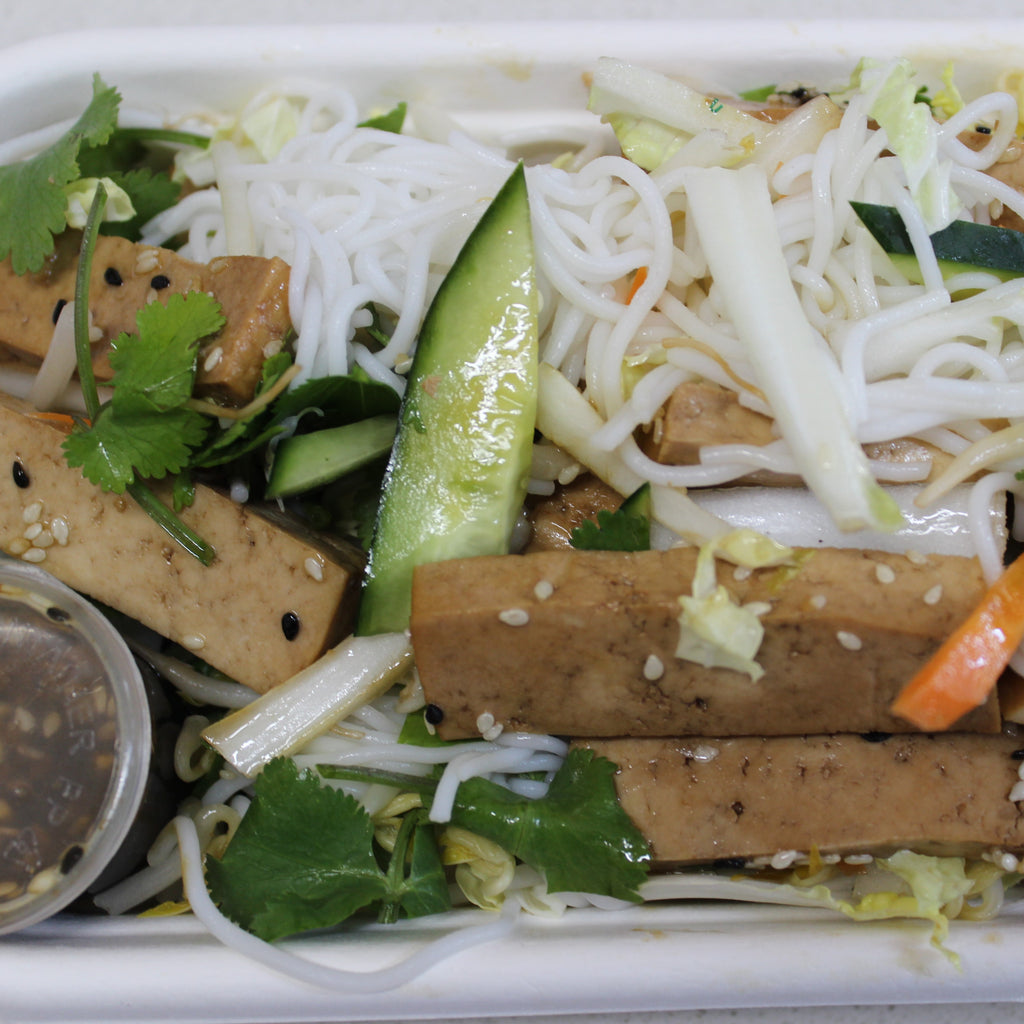 Lunch Box - Sesame Tofu Rice Noodle Salad Ginger Soy (gf, df, vegan)