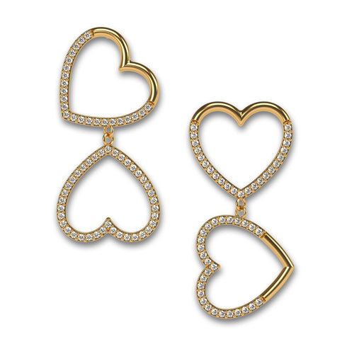 Hearts for LOVE Large Asymmetric Earrings