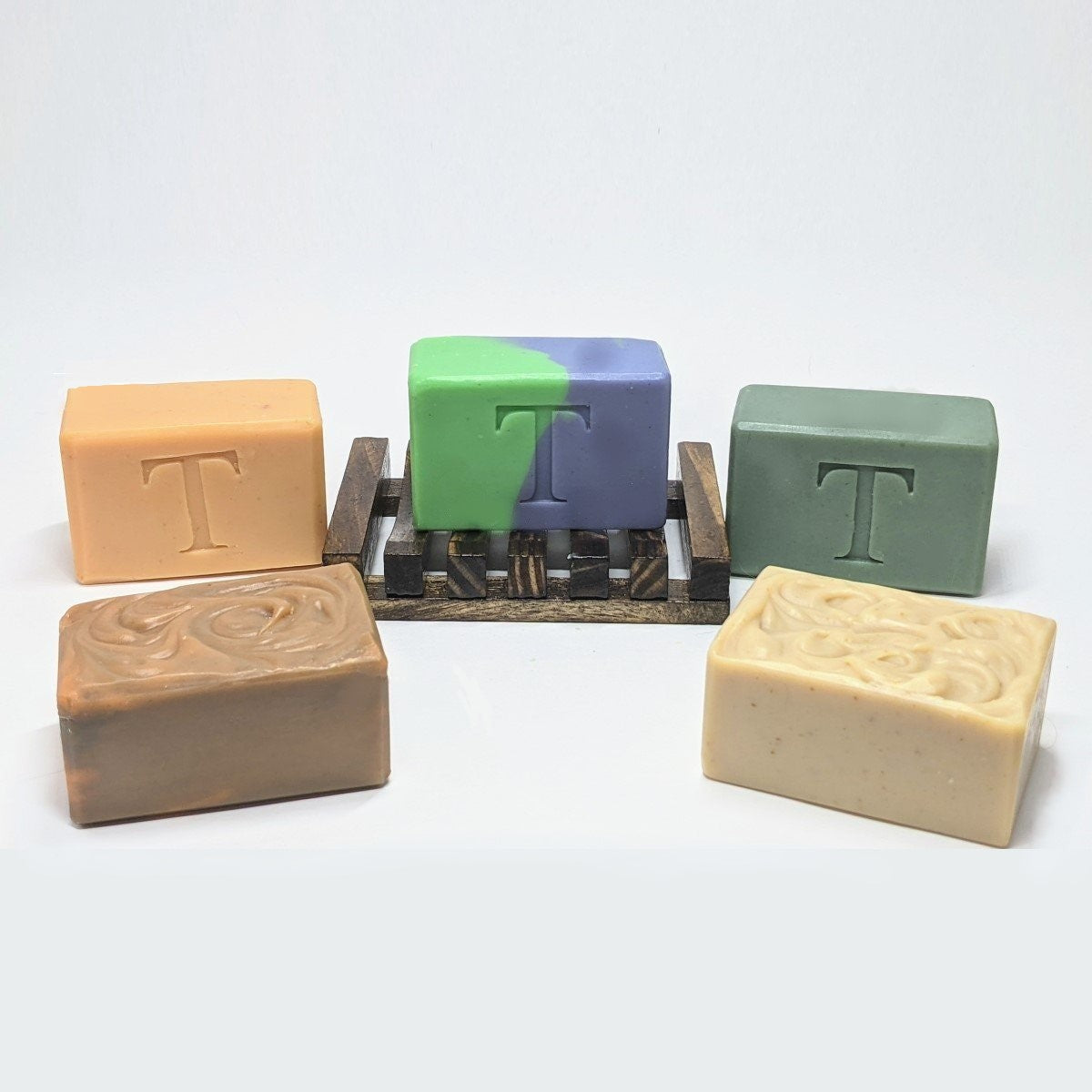 5 Bar Luxury Goat Milk Soap Variety Pack with Wood Soap Saver Dish - Thompson's Luxury Soap