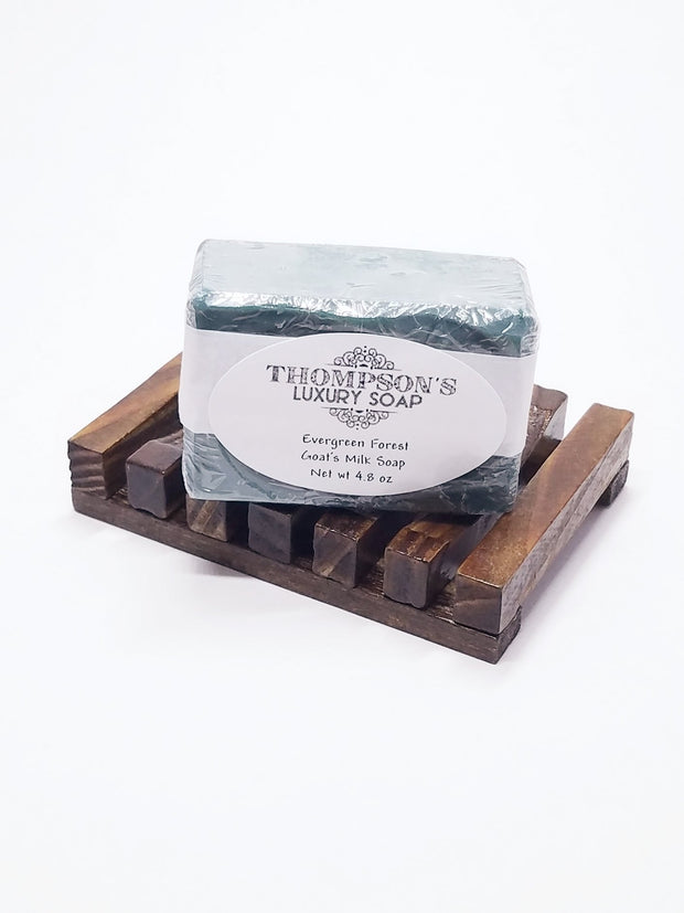 Evergreen Forest Goat's Milk Soap Bar, All Natural with Essential Oils, Activated Charcoal, Shea and Cocoa Butter 1