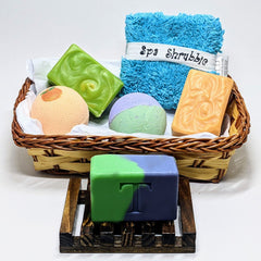 Luxury Spa Gift Basket: 3 Bars of Soap, 2 Bath Bombs, Spa Scrubby, and Soap Dish - Thompson's Luxury Soap