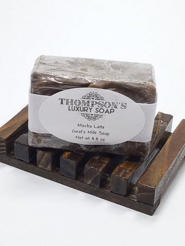 Mocha Latte Goat's Milk Soap Bar, All-Natural with Shea Butter, Oatmeal and Honey - Thompson's Luxury Soap