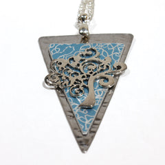 Tree of Life Triangle with Turquoise Background Pendant