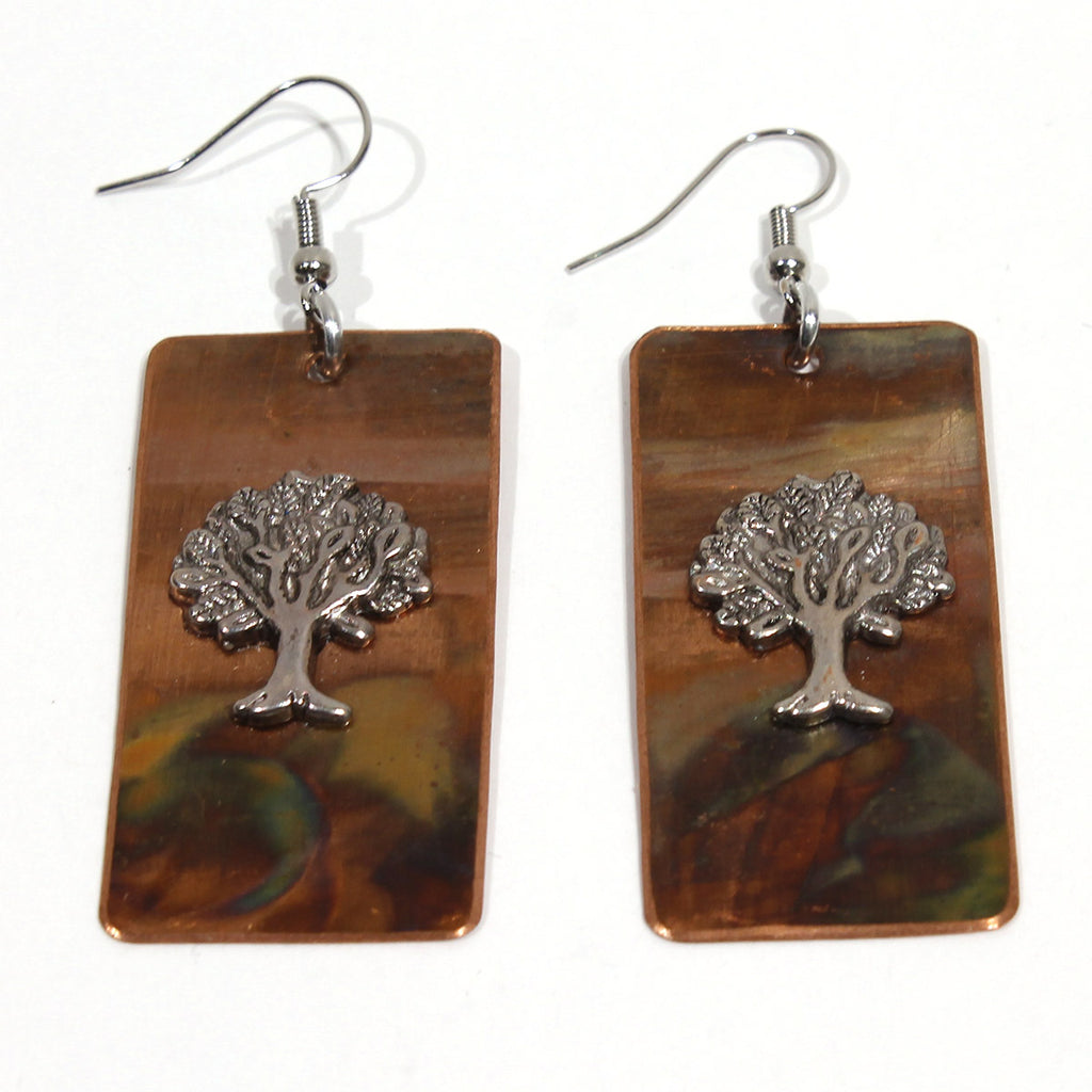 Rectangle Copper with Metal Tree of Life Earrings