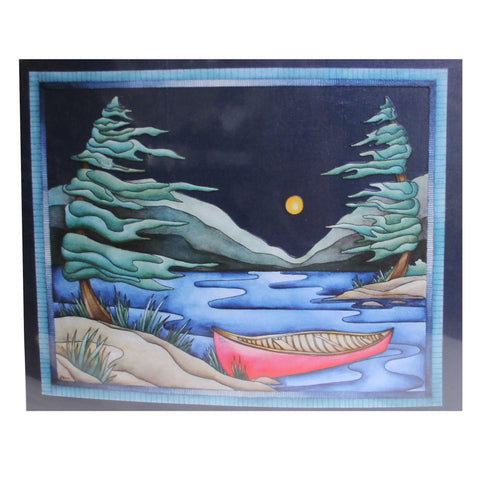Red Canoe with White Moon (Landscape)
