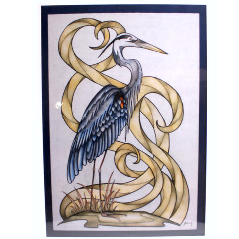 Great Blue Heron with Yellow Swirls