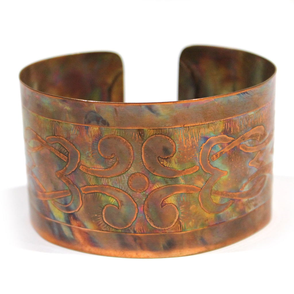 Wide Copper Cuff with Scroll Detail