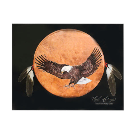 Eagle with Orange Moon