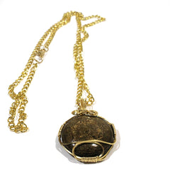 Bronzite Pendant with Brass Coloured Wire