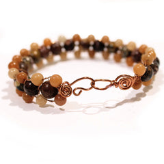 Mixed Jasper and Brown Bracelet by Lynn Quinn with easy clasp