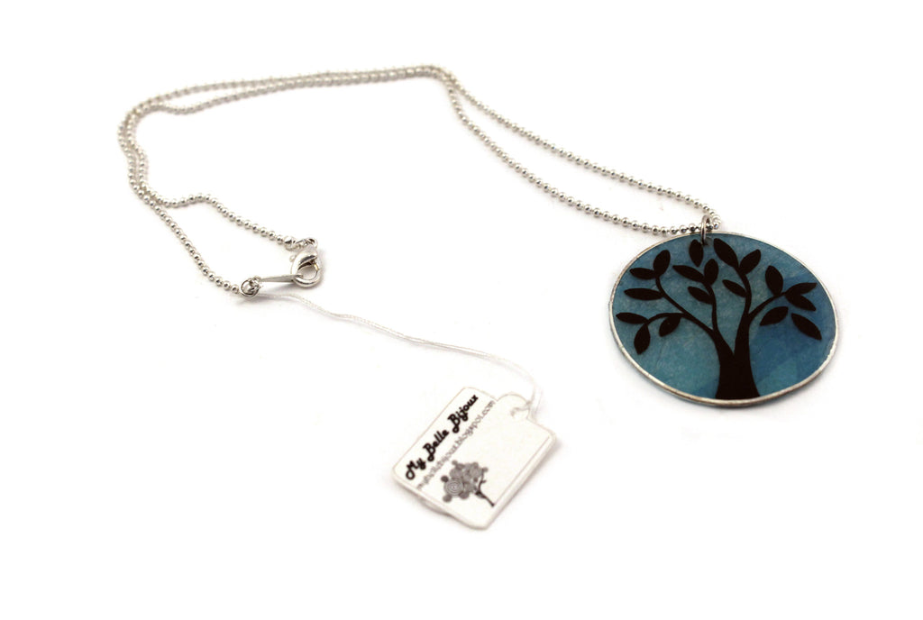 Hand Painted Paper With Tree Silhouette Pendant