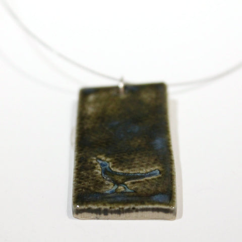 Ceramic Rectangle Pendant with Bird on Wire