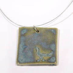 Ceramic Square Pendant with Bird on Wire