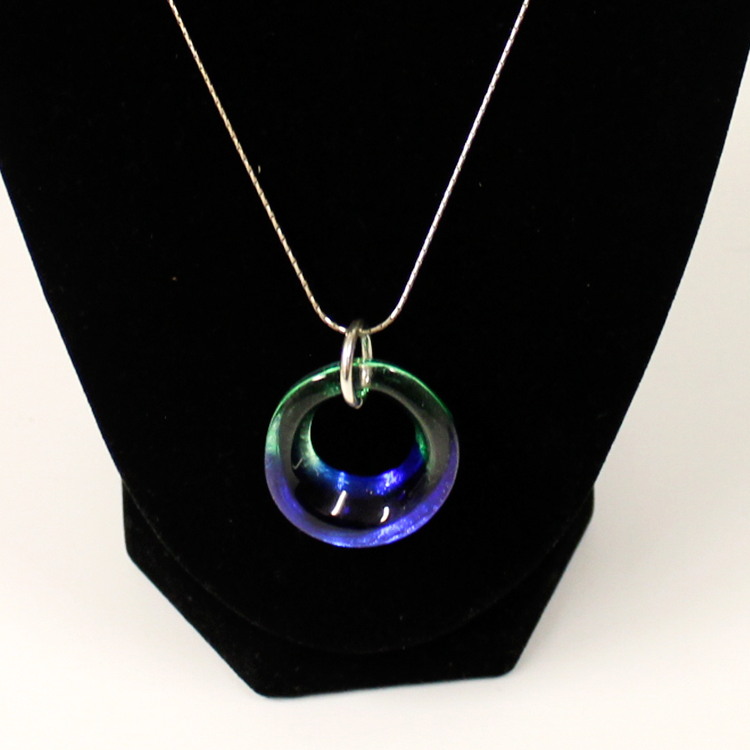 Glass Pendent, Green Blue