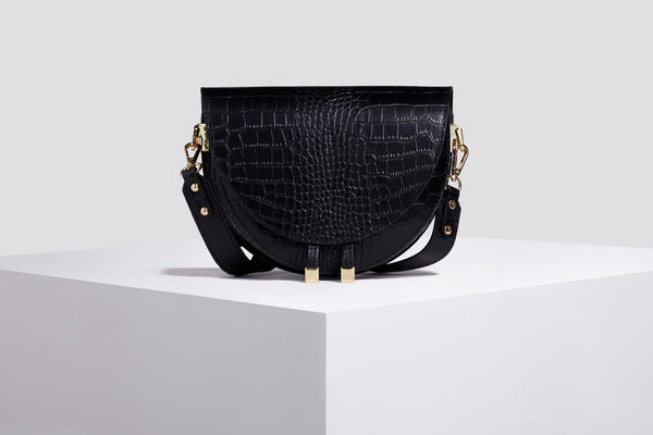 Leather Messenger Bag - Black Croco Bag