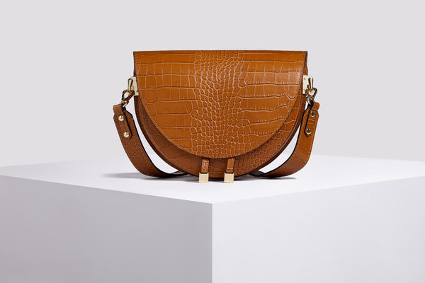 Croco leather messenger bag in brown