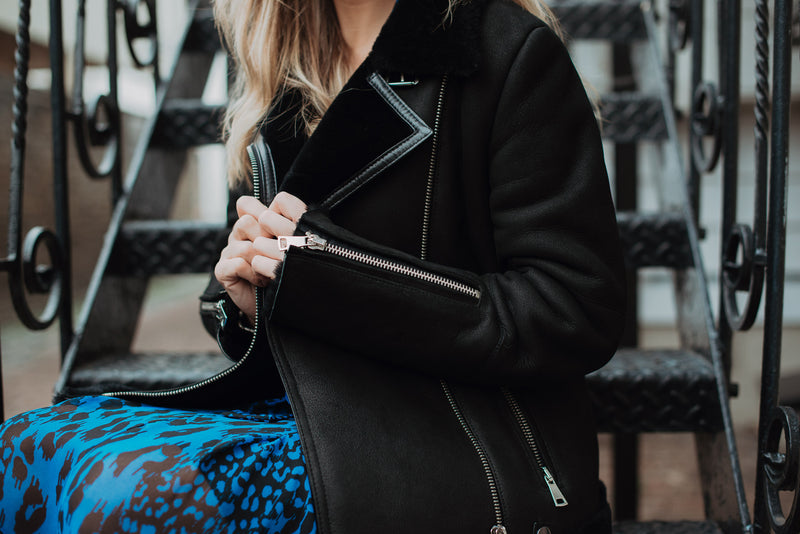 Shearling leather pilot jacket in black