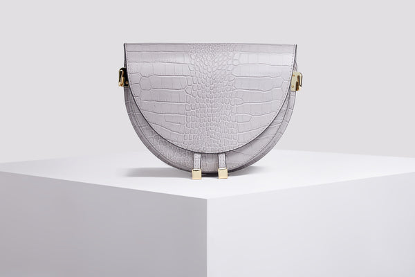 Leather Messenger Bag - Croco Leather Bag