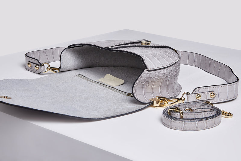 Croco leather messenger bag in grey