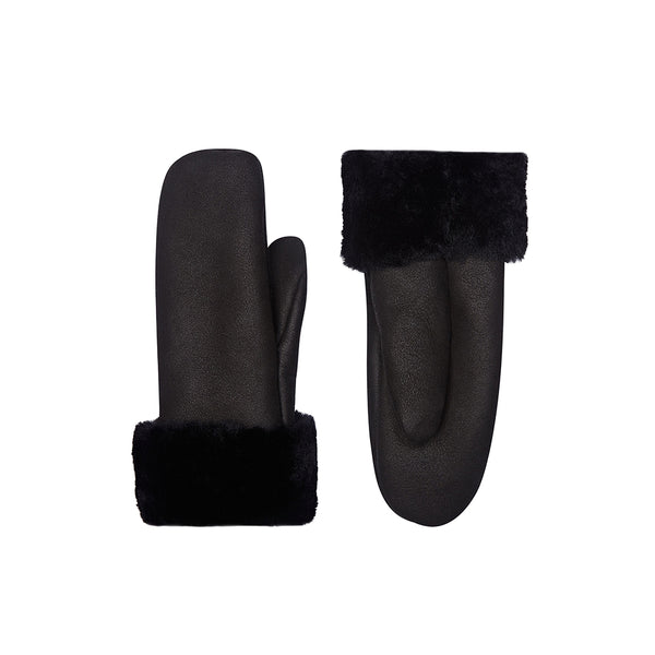 Black Leather Gloves - Shearling Leather Gloves