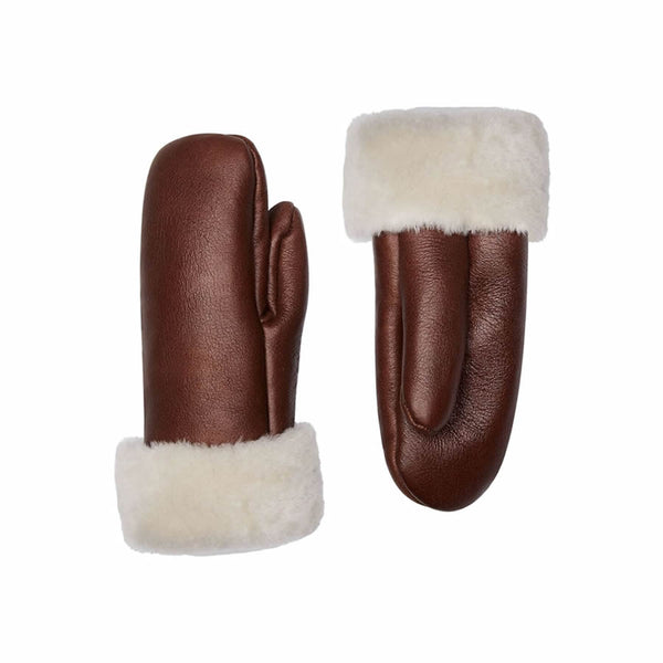 Brown Leather Gloves - Shearling Leather Gloves