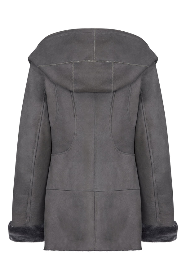 Hooded Shearling Jacket Women - Leather Hooded Jacket