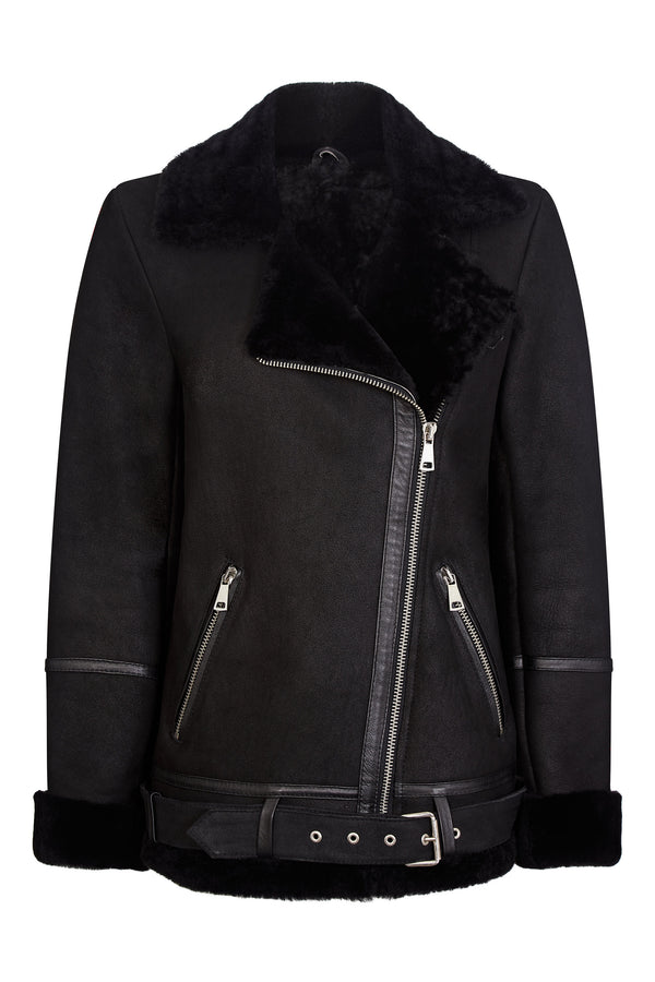 Oversized Aviator Jacket - Shearling Leather Jacket Women