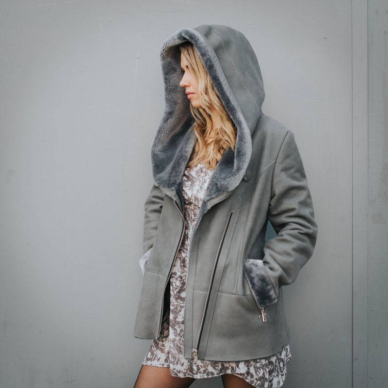 Shearling leather hooded jacket in grey