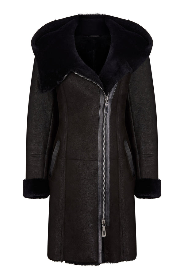 Shearling leather hooded coat in black