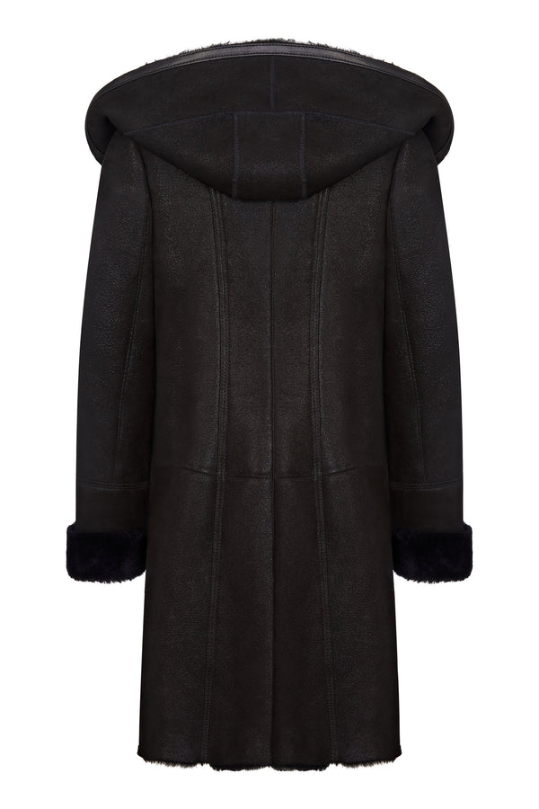 Leather Hooded Coats for Womens - Shearling Leather Coat