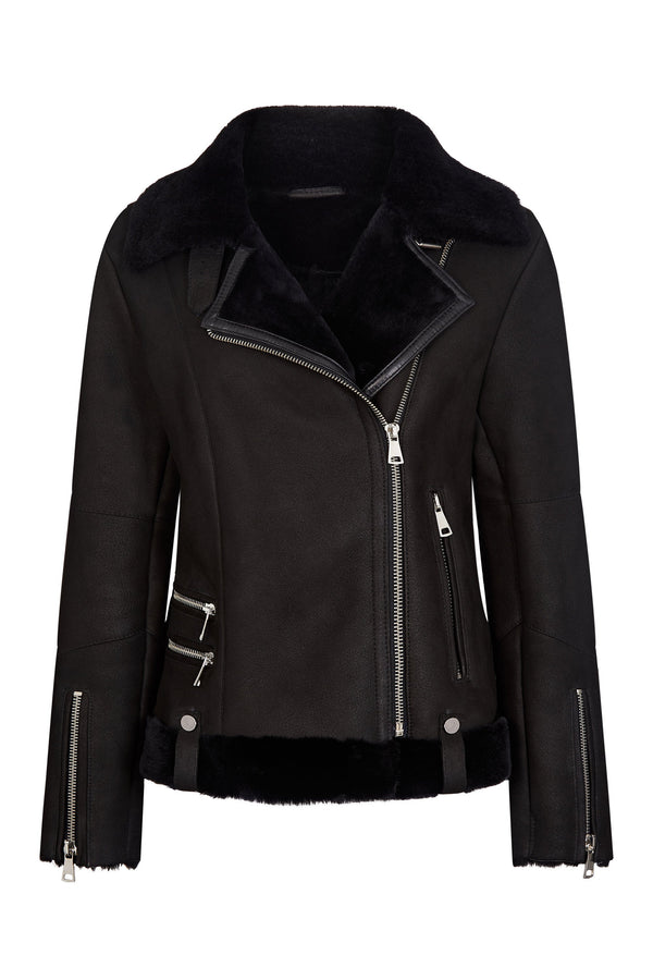 Shearling Pilot Jacket Women - Shearling Black Jacket