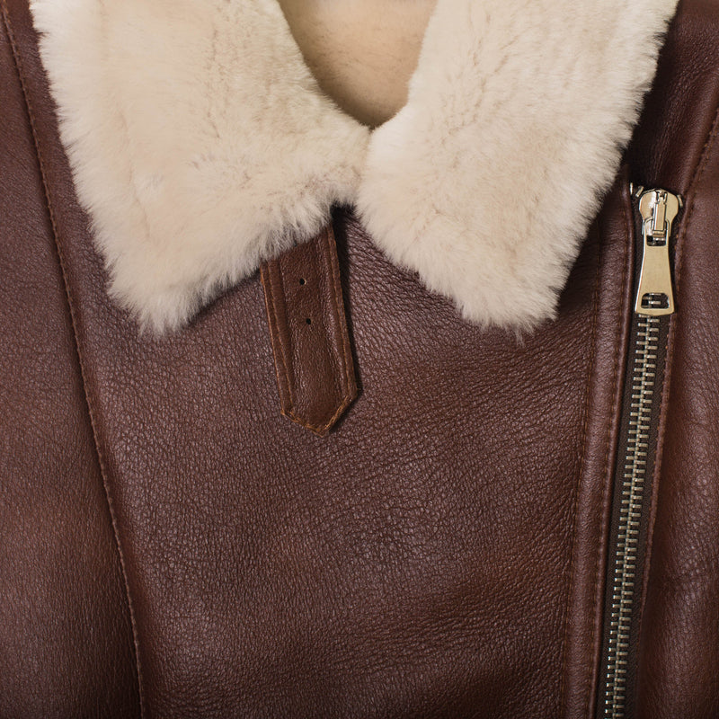 Shearling leather pilot jacket in brown