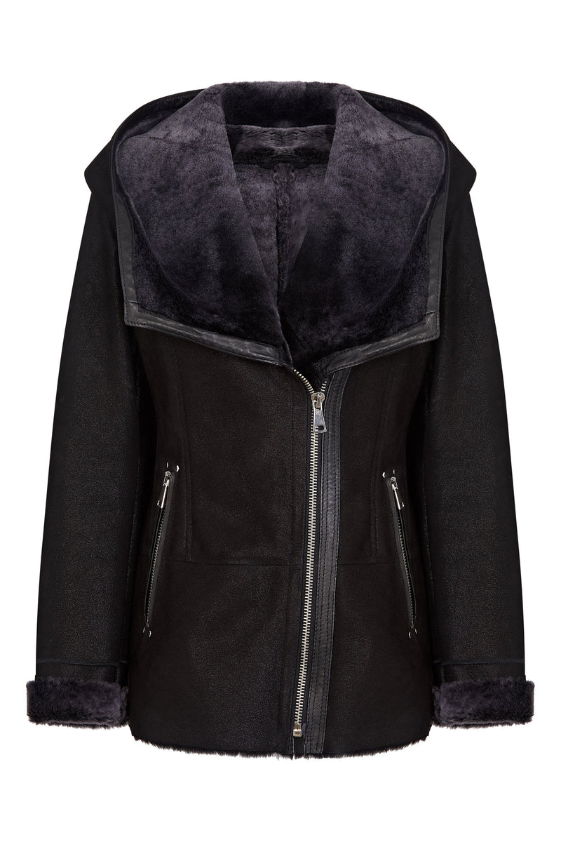 Hooded Shearling Jacket Black - Leather Hooded Jacket
