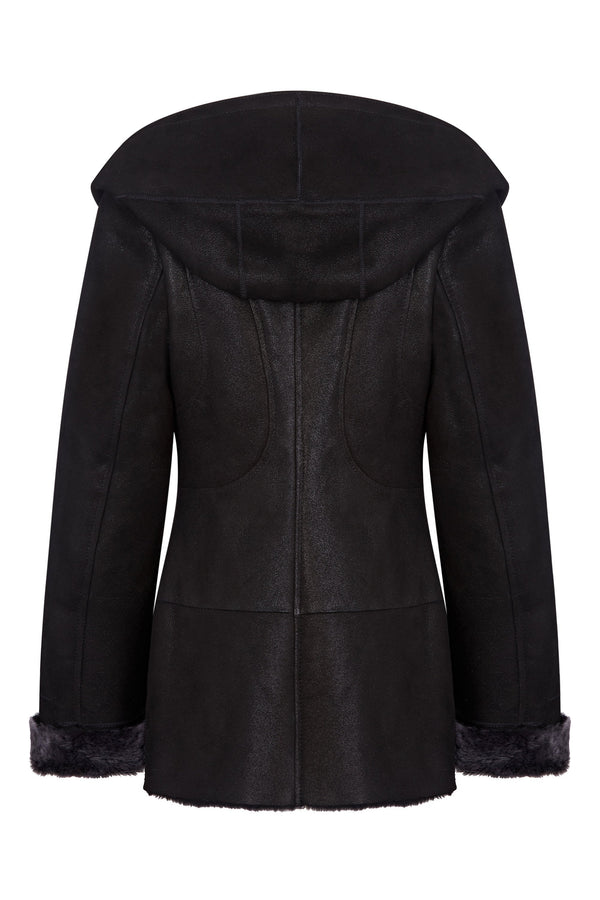 Shearling leather hooded jacket in black