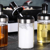 Spoon Jar - Glass Seasoning Bottle Spice Jar with Spoon