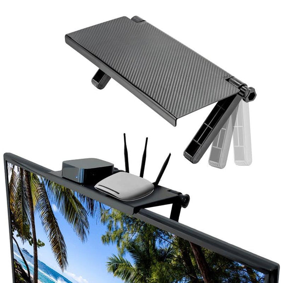 TV Top - Adjustable shelf that can mount on any LCD TV or computer monitor