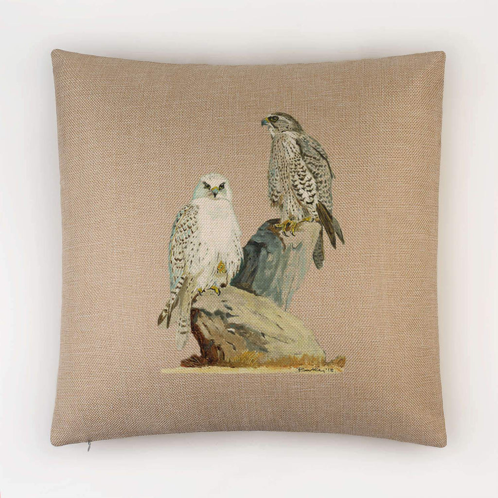 Sahar and Gyr Falcons Cushion - Countryman John