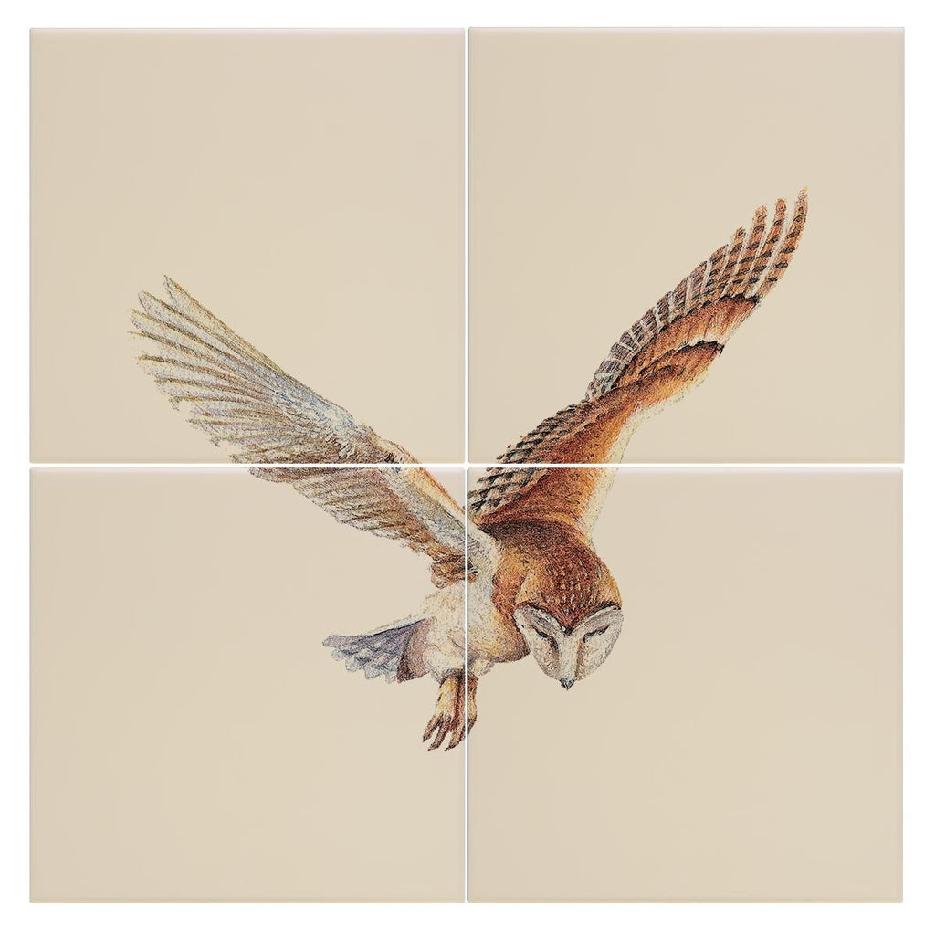 Barn Owl in Flight Tile - Countryman John