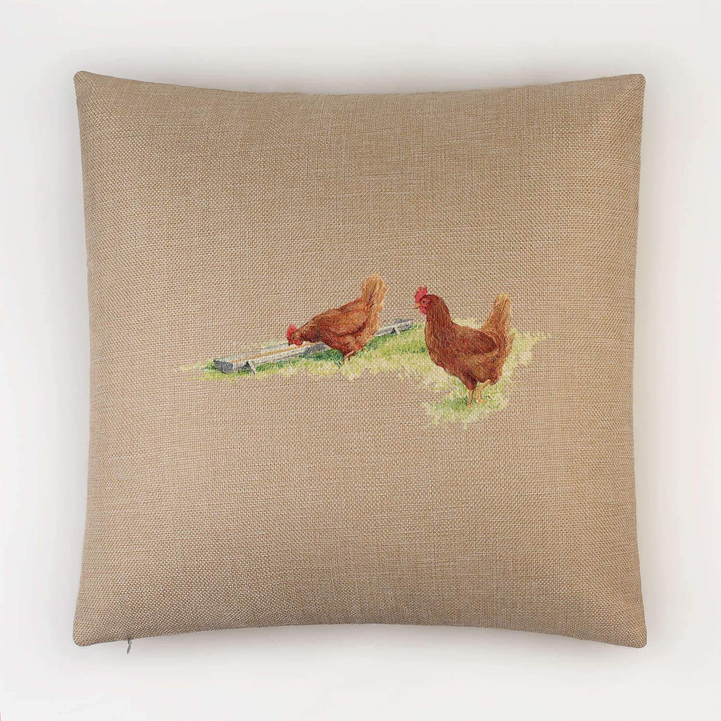 Drinking Hens Cushion - Countryman John