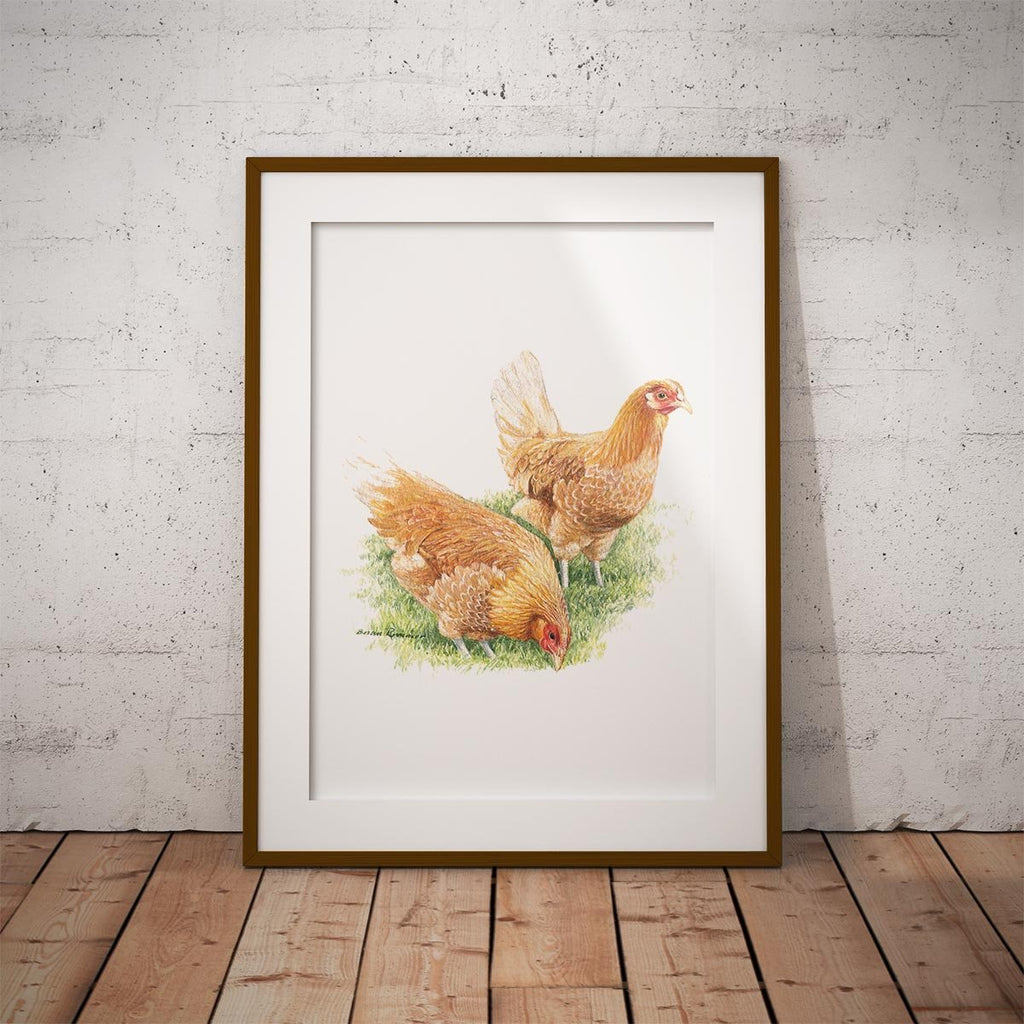 Feeding Hens Wall Art Print - Countryman John