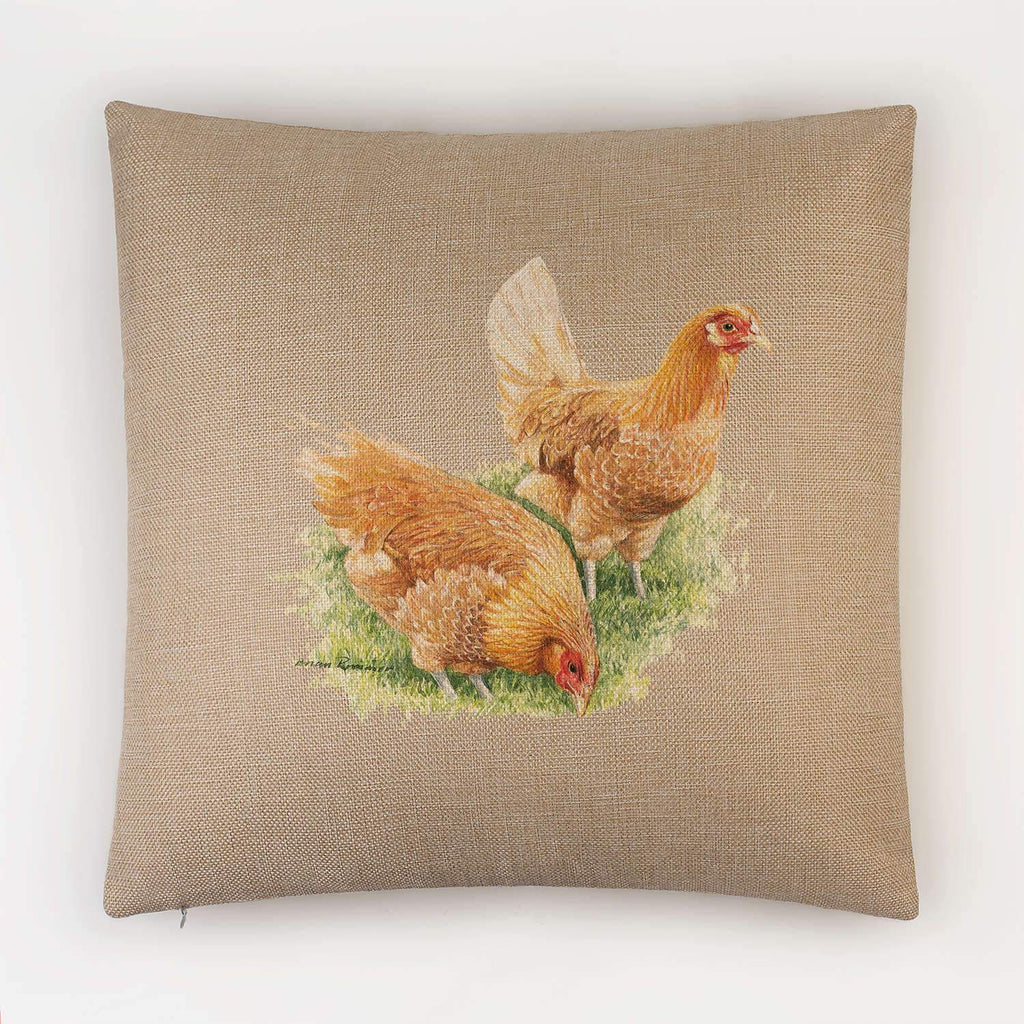 Feeding Hens Cushion - Countryman John
