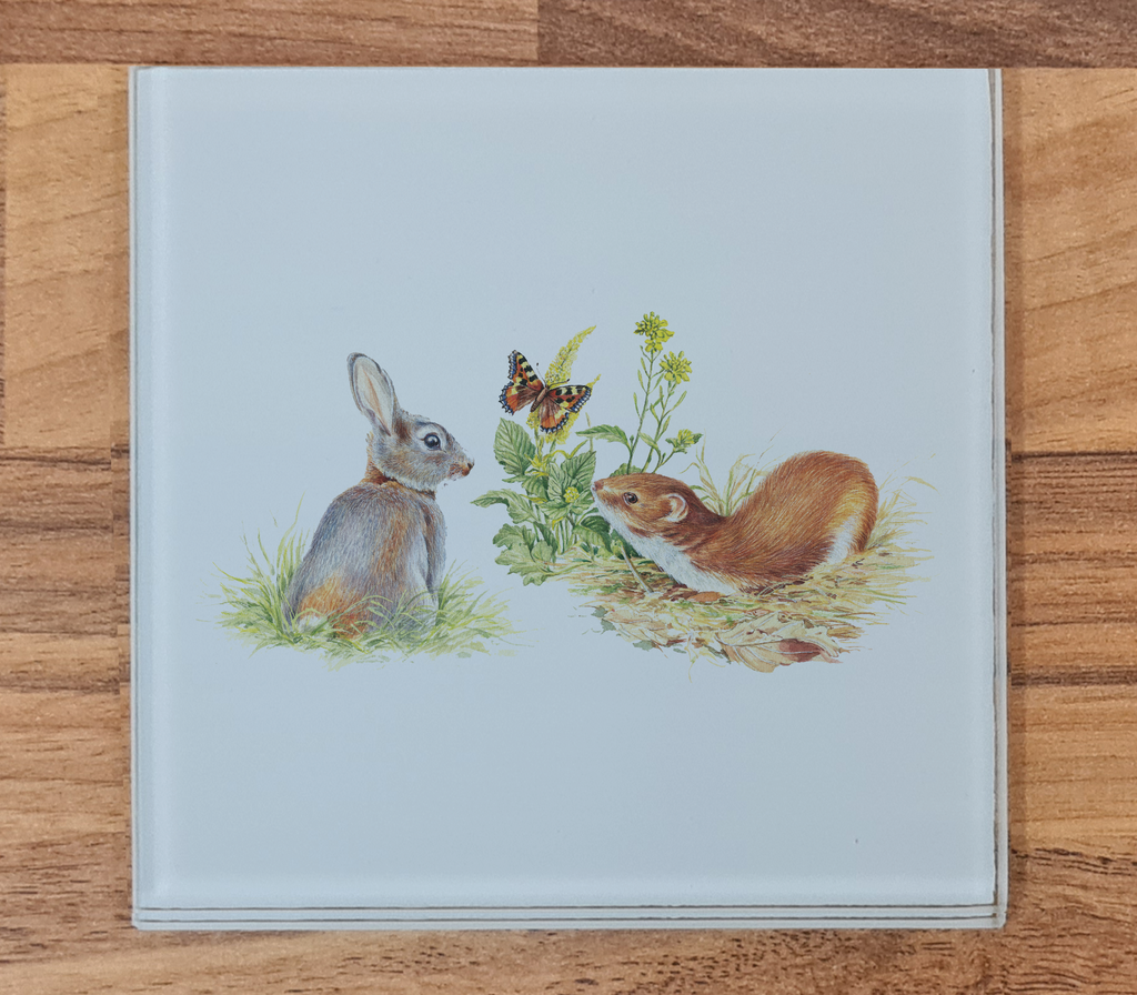 Rabbit and Stoat Glass Coaster