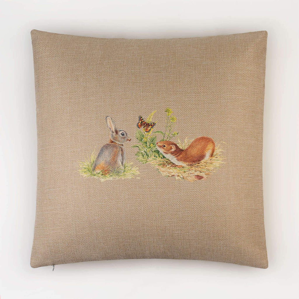 Rabbit and Stoat Cushion - Countryman John