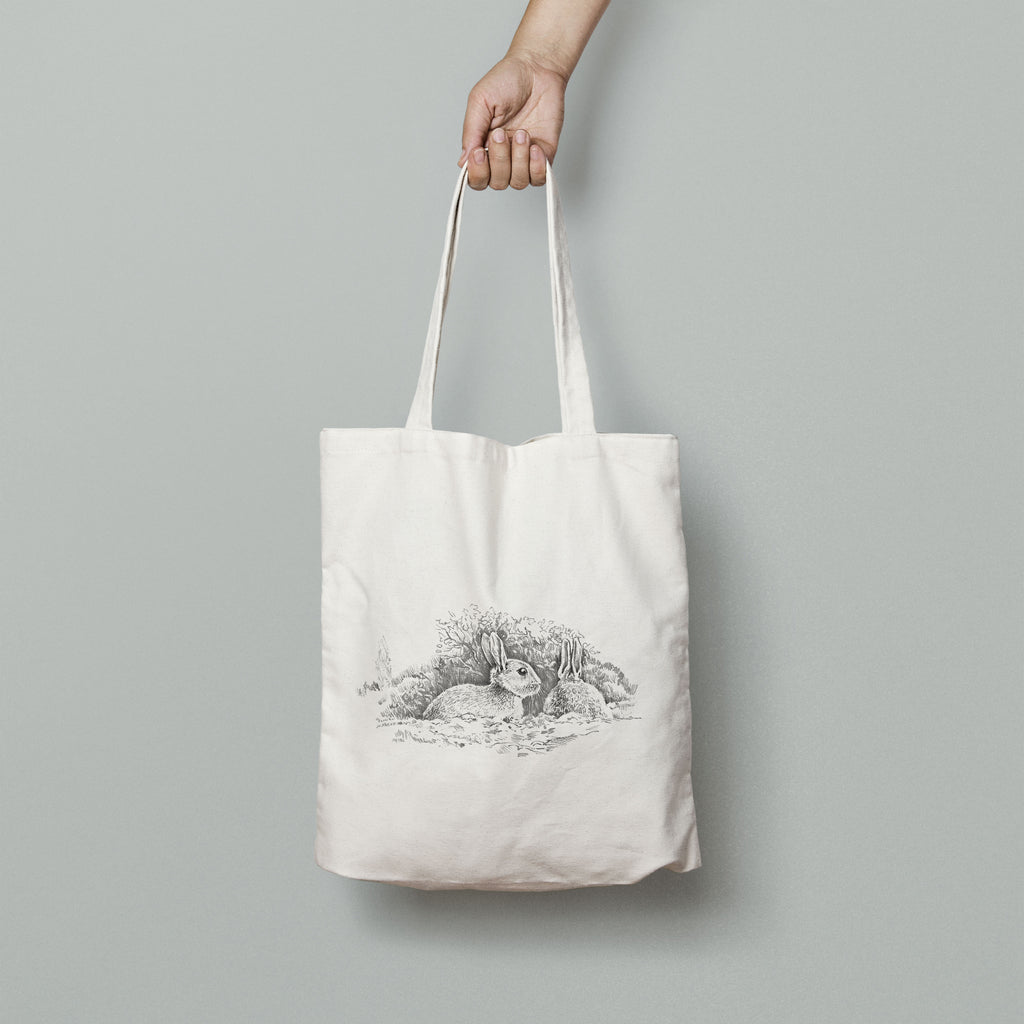 Wary Rabbits Tote Bag