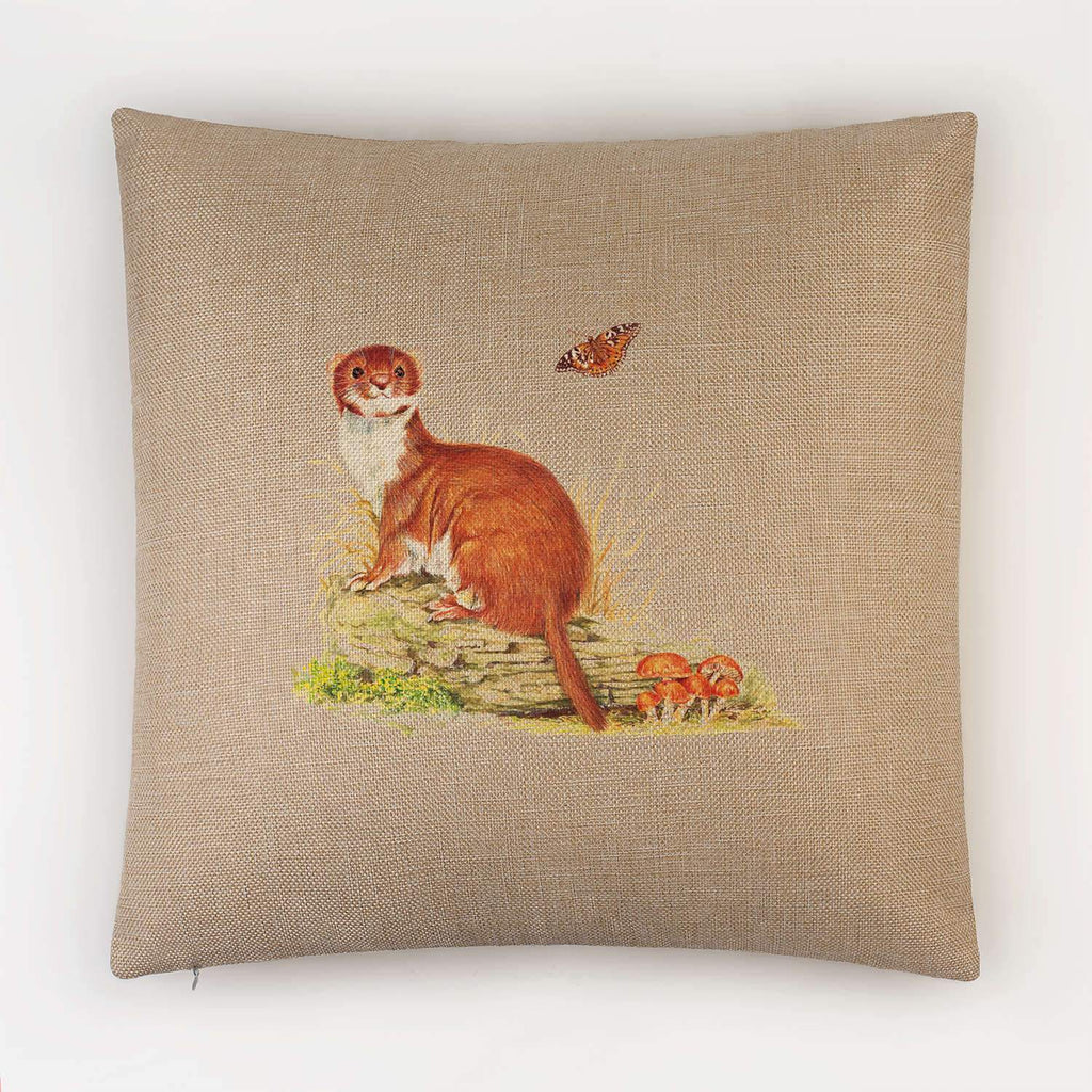 Stoat on Log Cushion - Countryman John