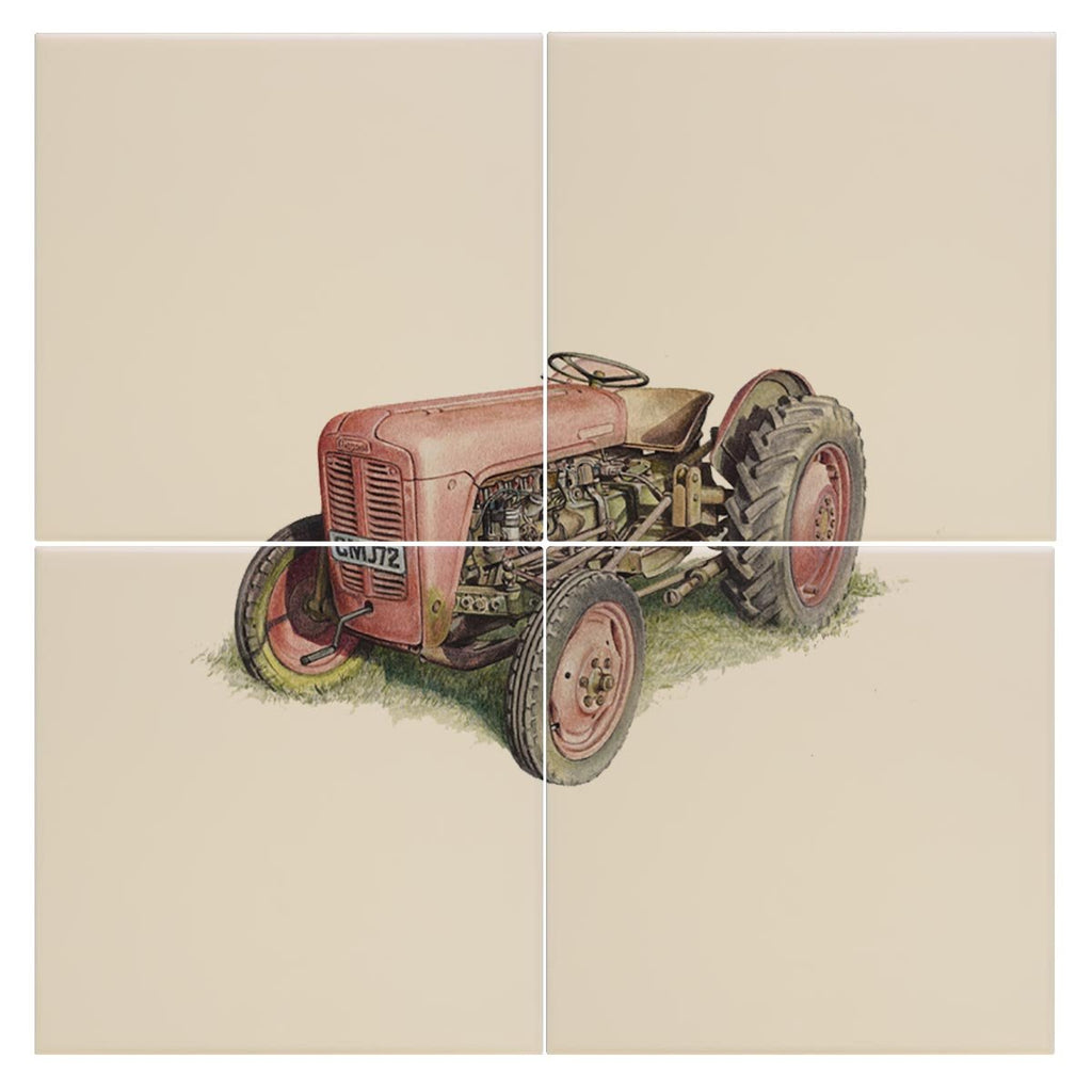 Red Fergusson Tractor Tile - Countryman John